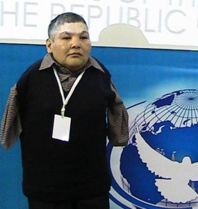 Karipbek Kuyukov speaking at the launch of the ATOM Project at the 2012 PNND Assembly in Kazakhstan