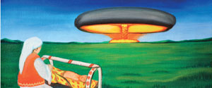 Painting by Karipbek Kuyukov of a nuclear test in Kazakhstan