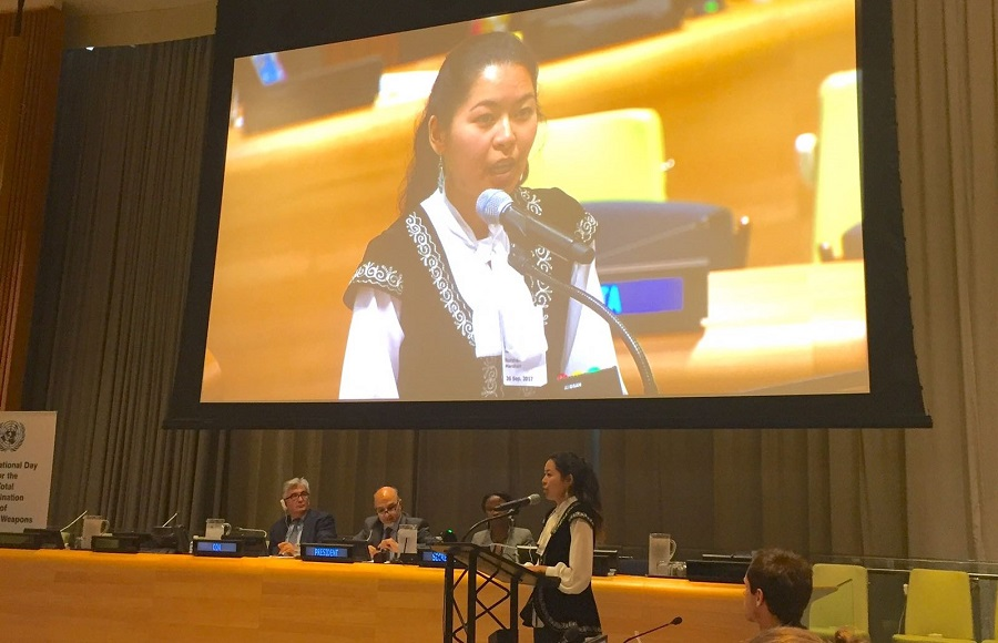 Marzhan Nurzhan (Kazakhstan) speaking at the UN plenary on nuclear disarmament